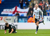 Bolton Wanderers' Josh Vela winces in pain after a collision with Leeds United's Kalvin Phillips <br /> <br /> Photographer Andrew Kearns/CameraSport<br /> <br /> The EFL Sky Bet Championship - Bolton Wanderers v Leeds United - Sunday 6th August 2017 - Macron Stadium - Bolton<br /> <br /> World Copyright &copy; 2017 CameraSport. All rights reserved. 43 Linden Ave. Countesthorpe. Leicester. England. LE8 5PG - Tel: +44 (0) 116 277 4147 - admin@camerasport.com - www.camerasport.com