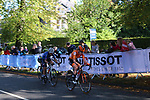 Anna Van Der Breggan (NED) and Amanda Spratt (AUS) 3rd and 4th on the first circuit of Harrogate during the Women Elite Road Race of the UCI World Championships 2019 running 149.4km from Bradford to Harrogate, England. 28th September 2019.<br /> Picture: Seamus Yore | Cyclefile<br /> <br /> All photos usage must carry mandatory copyright credit (© Cyclefile | Seamus Yore)