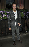 Perez Hilton.attended the Kensington Club new boutique nightclub launch party, The Kensington Club, High Street Kensington, London, England,.20th July 2012..full length grey gray plaid checked suit jacket blazer  shoes tartan bag louis vuitton  white t-shirt  .CAP/CAN.©Can Nguyen/Capital Pictures.