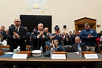 The room applauds Jon Stewart after delivering his testimony at a hearing on the 9-11 Victims fund before the Judiciary subcommittee on Capitol Hill in Washington D.C. on June 11, 2019.<br /> <br /> Credit: Stefani Reynolds / CNP/AdMedia