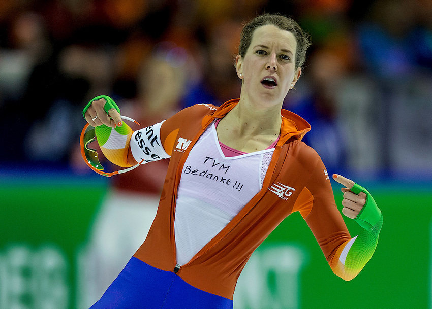 Ireen Wust of the Netherlands reacts after the women's 5000 meters at the Essent ISU speed skating world championship in Heerenveen March 23, 2014.REUTERS/Michael Kooren (NETHERLANDS - Tags: SPORT SPEED SKATING)