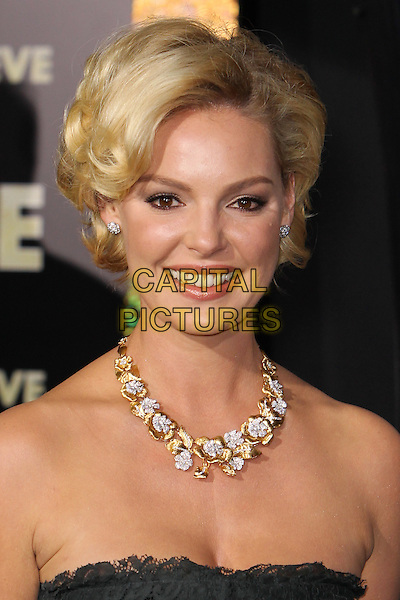 "Katherine Heigl.The World Premiere of ""New Year's Eve' held at The Grauman's Chinese Theatre in Hollywood, California, USA..December 5th, 2011.headshot portrait black strapless lace gold diamond necklace jewellery jewelry .CAP/CEL .©CelPh/Capital Pictures."