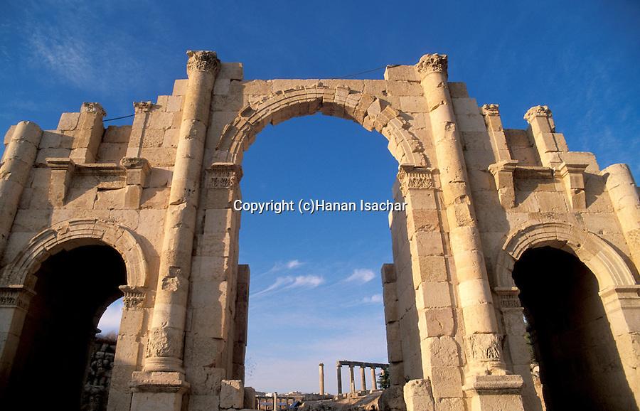 Jordan, Jerash. The southern gate of the Roman city&#xA;<br />