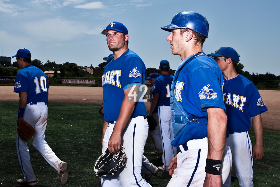 24 May 2009: Rhett Teller of Senart is seen next to Alex Malihoudis prior to a game against La Guerche during the 2009 challenge de France, a tournament with the best French baseball teams - all eight elite league clubs - to determine a spot in the European Cup next year, at Montpellier, France. Senart wins 8-5 over La Guerche.