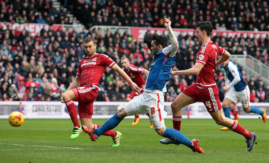 Blackburn Rovers' Tony Watt gets a shot in on the Middlesbrough goal<br /> <br /> Photographer David Shipman/CameraSport<br /> <br /> Football - The Football League Sky Bet Championship - Middlesbrough v Blackburn Rovers - Saturday 6th February 2016 - Riverside Stadium - Middlesbrough <br /> <br /> &copy; CameraSport - 43 Linden Ave. Countesthorpe. Leicester. England. LE8 5PG - Tel: +44 (0) 116 277 4147 - admin@camerasport.com - www.camerasport.com