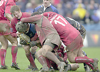 31/01/2004 Parker Pen Challenge Trophy.Bath Rugby v Beziers.Matt Stevens is tacled with the ball....   [Mandatory Credit, Peter Spurier/ Intersport Images].