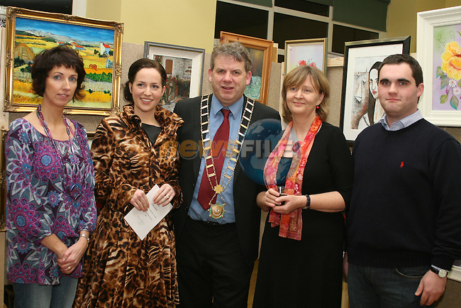 Kate Fitzpatrick, Edel Ní Bhroin, Mayor Michael O'Dowd, Marie Eagleton and Kevin Callan at the Art Exhibition in Scoil Aonghusa....Photo NEWSFILE/Jenny Matthews.(Photo credit should read Jenny Matthews/NEWSFILE)....This Picture has been sent you under the condtions enclosed by:.Newsfile Ltd..The Studio,.Millmount Abbey,.Drogheda,.Co Meath..Ireland..Tel: +353(0)41-9871240.Fax: +353(0)41-9871260.GSM: +353(0)86-2500958.email: pictures@newsfile.ie.www.newsfile.ie.FTP: 193.120.102.198.