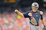 22 July 2012: Atlanta Braves catcher Brian McCann in action against the Washington Nationals at Nationals Park in Washington, DC. The Braves fell to the Nationals 9-2 splitting their 4-game weekend series. Mandatory Credit: Ed Wolfstein Photo