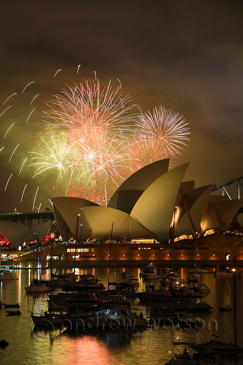 New Year's Eve fireworks over the Opera House, Sydney, New South Wales, Australia