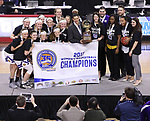 SIOUX FALLS, SD: MARCH 7: Western Illinois defeated IUPUI during the Women's Summit League Basketball Championship Game on March 7, 2017 at the Denny Sanford Premier Center in Sioux Falls, SD. (Photo by Dick Carlson/Inertia)