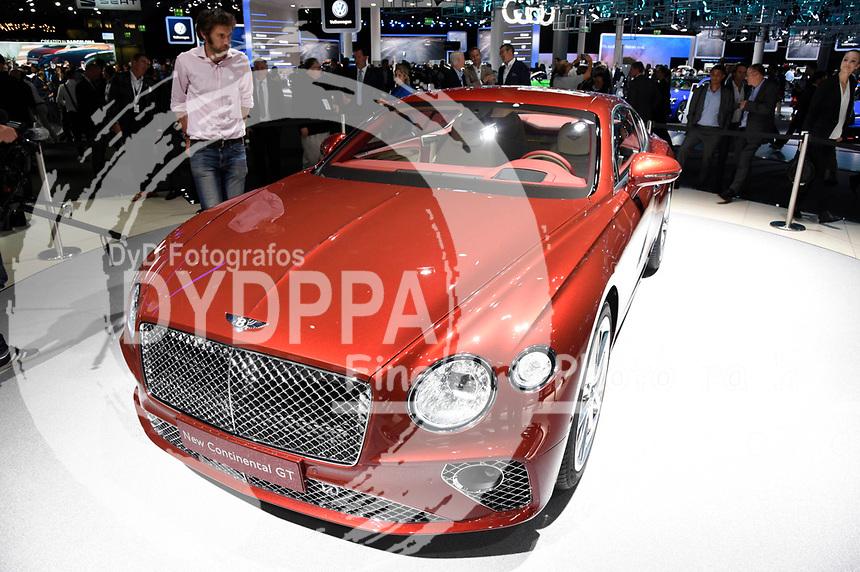 Bentley New Continental GT auf der Internationalen Automobil-Ausstellung 2017 auf dem Messegelände. Frankfurt am Main, 12.09.2017