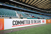 A general view of perimeter boards. The Clash, Aviva Premiership match, between Bath Rugby and Leicester Tigers on April 7, 2018 at Twickenham Stadium in London, England. Photo by: Patrick Khachfe / Onside Images