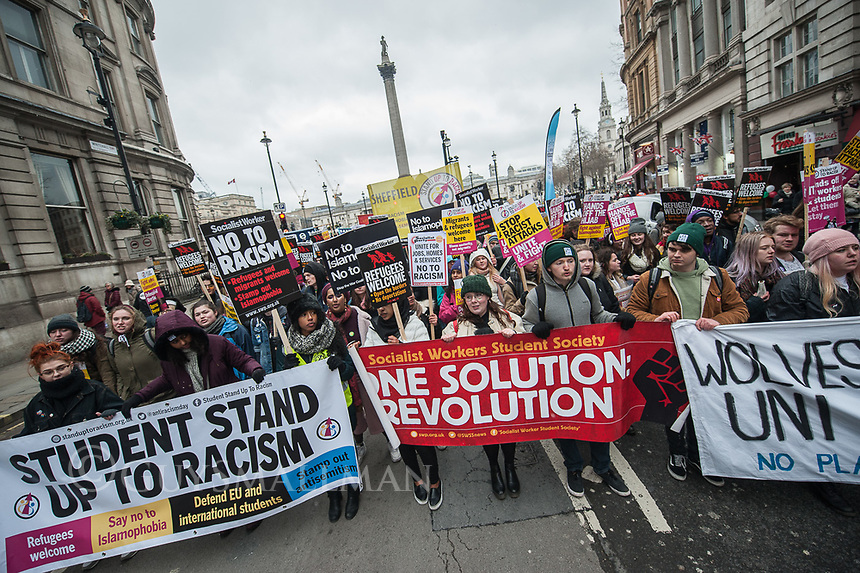 M17 international anti racism march in London organised by Stand Up To Racism. 17-3-18