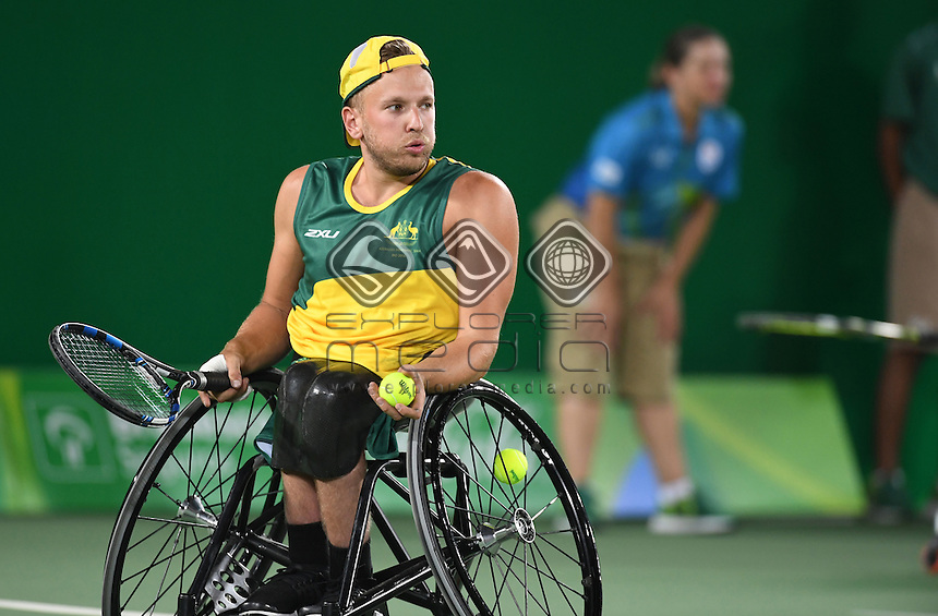 Quad Double final / Dylan Alcott and Heath Davidson (AUS) GOLD <br /> Olympic Stadium / Day 6 Tennis<br /> 2016 Paralympic Games - RIO Brazil<br /> Australian Paralympic Committee<br /> Rio Brazil Tuesday 13 September 2016<br /> &copy; Sport the library / Courtney Crow
