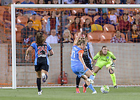 Janine Beckie (11) of the Houston Dash takes a shot at the Chicago Red Stars goal and scores in the second half putting Houston up 3-1 on Saturday, April 16, 2016 at BBVA Compass Stadium in Houston Texas.