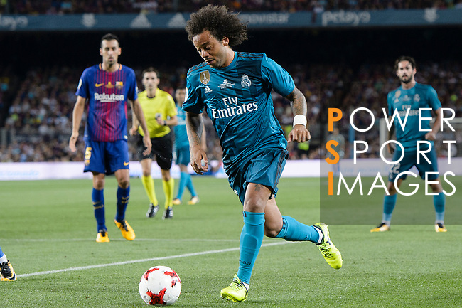 Marcelo da Silva of Real Madrid looks to bring the ball down previously of his goal during the Supercopa de Espana Final 1st Leg match between FC Barcelona and Real Madrid at Camp Nou on August 13, 2017 in Barcelona, Spain. Photo by Marcio Rodrigo Machado / Power Sport Images