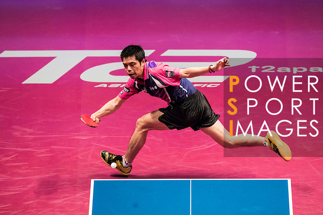 Chuang Chih-Yuan of Taiwan vs Youngsik Jeoung of South Korea at their Men's Singles Quarter Final match during the Seamaster Qatar 2016 ITTF World Tour Grand Finals at the Ali Bin Hamad Al Attiya Arena on 9 December 2016, in Doha, Qatar. Photo by Victor Fraile / Power Sport Images
