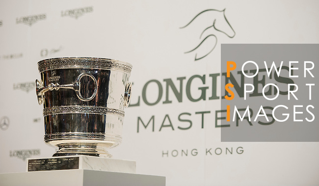 Marco Kutscher riding Van Gogh, Kevin Staut riding For Joy van't Zorgvliet HDC and Emanuele Gaudiano riding Caspar 232 attend a press conference after Kutscher,s victory  at the Longines Grand Prix, part of the Longines Masters of Hong Kong on 21 February 2016 at the Asia World Expo in Hong Kong, China. Photo by Juan Manuel Serrano / Power Sport Images