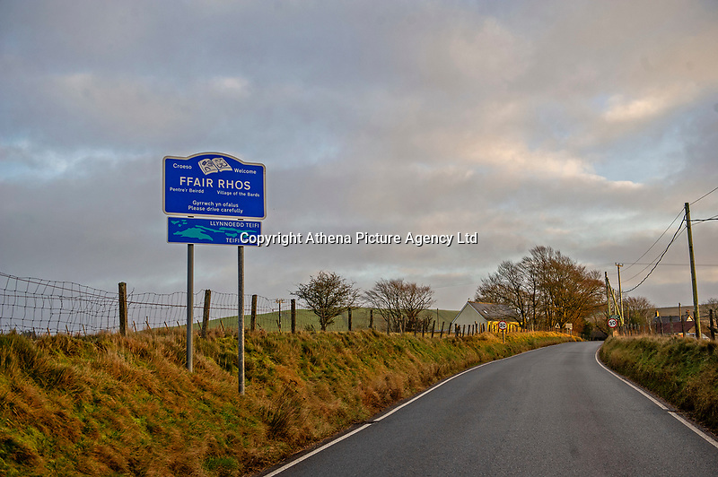 Pictured: A general view of Ffair Rhos in Ceredigion, Wales, UK.<br /> Re: A three-year-old boy was killed in a caravan fire in the early hours of Sunday morning at Ffair Rhos, near Tregaron, Ceredigion, west Wales.<br /> His four year old brother is in a critical but stable condition in hospital and his dad's condition is stable.<br /> The fire service said a touring caravan and vehicle were completely destroyed and adjacent property damaged in the blaze.<br /> Emergency services had been called to the scene at 5.35am on Sunday.