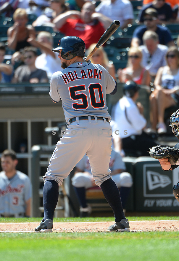 Detroit Tigers Bryan Holaday (50) during a game against the Chicago White Sox on August 31, 2014 at US Cellular Field in Chicago, IL. The Tigers beat the White Sox 8-4.