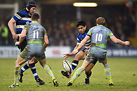 Ben Tapuai of Bath Rugby puts boot to ball. Anglo-Welsh Cup match, between Bath Rugby and Newcastle Falcons on January 27, 2018 at the Recreation Ground in Bath, England. Photo by: Patrick Khachfe / Onside Images