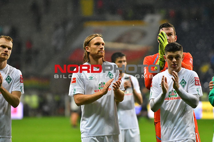 06.10.2019, Commerzbankarena, Frankfurt, GER, 1. FBL, Eintracht Frankfurt vs. SV Werder Bremen, <br /> <br /> DFL REGULATIONS PROHIBIT ANY USE OF PHOTOGRAPHS AS IMAGE SEQUENCES AND/OR QUASI-VIDEO.<br /> <br /> im Bild: Michael Lang (SV Werder Bremen #4), Milot Rashica (SV Werder Bremen #7)<br /> <br /> Foto © nordphoto / Fabisch