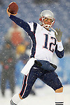New England Patriots quarterback Tom Brady takes some warmup passes prior to a game against the Buffalo Bills at Ralph Wilson Stadium in Orchard Park, NY, on December 11, 2005 . The Patriots defeated the Bills 35-7. Mandatory Photo Credit: Ed Wolfstein