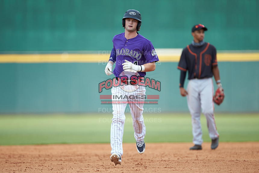 Peyton Stovall (4) of Haughton HS in Haughton, LA playing for the Colorado Rockies scout team rounds the bases after hitting a home run during the East Coast Pro Showcase at the Hoover Met Complex on August 2, 2020 in Hoover, AL. (Brian Westerholt/Four Seam Images)