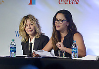 NWA Democrat-Gazette/BEN GOFF @NWABENGOFF<br /> Meg Ryan looks on as Melissa Fumero reads lines from 'The Break-Up' Thursday, May 4, 2017, while taking part in the Bentonville Film Festival's 'Geena and Friends' panel at Record in Benotnville. The panel has become a popular feature of the festival, with Geena Davis and other female celebrities performing table reads of movie scenes featuring predominantly male casts.