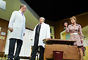What The Butler Saw by Joe Orton, directed by Sean Foley . With Tim McInnerny as Dr Prentice, Omid Djalili as Dr Rance,  Samantha Bond as Mrs Prentice. Opens at The Vaudaville Theatre  on 16/5/12 .CREDIT Geraint Lewis