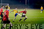 Robert Baggett, Killorglin FC,  and Shane Stack, Tralee Dynamos in action last Thursday night, Feb 13, in the U13 league match at Mounthawk Park, Tralee.