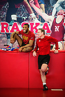 Olympic Gold champion wrestler Jordan Burroughs (cq) talks with his long time coach Mark Manning (cq) before wrestling practice at the University of Nebraska in Lincoln, Nebraska, Friday, February 12, 2015. Burroughs still trains at the university where he wrestled as a student.<br /> <br /> Photo by Matt Nager