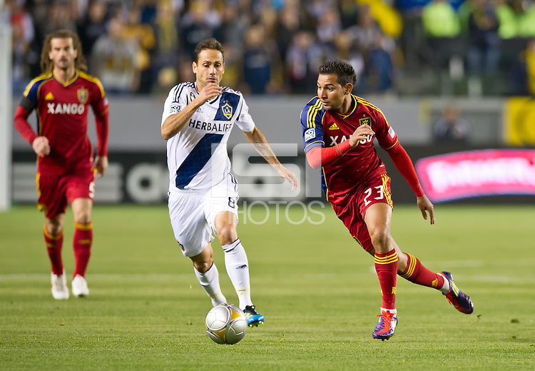 CARSON, CA - March 10,2012: Real Salt Lake forward Paulo Junior (23) against the LA Galaxy at the Home Depot Center in Carson, California. Final score LA Galaxy 1, Real Salt Lake 3.