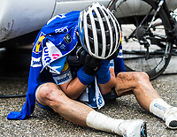 Picture by Alex Broadway/SWpix.com - 10/03/2018 - Cycling - 2018 Paris Nice - Stage Seven - Nice to Valdeblore La Colmiane - Julian Alaphilippe of Quick Step Floors reacts after finishing the stage.<br /> <br /> NOTE : FOR EDITORIAL USE ONLY. THIS IS A COPYRIGHT PICTURE OF ASO. A MANDATORY CREDIT IS REQUIRED WHEN USED WITH NO EXCEPTIONS to ASO/Alex Broadway MANDATORY CREDIT/BYLINE : ALEX BROADWAY/ASO