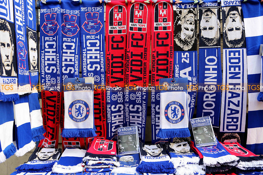 Chelsea v Mol Vidi scarves on sale outside the ground on the various market stalls during Chelsea vs MOL Vidi, UEFA Europa League Football at Stamford Bridge on 4th October 2018