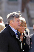 Former Quebec Premier Lucien Bouchard and his new wife (R)<br />  attend<br /> the funerals of Jean Lapierre, former politician and media,<br />  April 16, 2016 in Outremont.<br /> <br /> Photo : Pierre Roussel - Agence Quebec Presse<br /> <br /> <br /> <br /> <br /> <br /> <br /> <br /> <br /> .