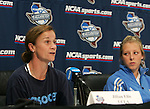 3 December 2005: Head coach Jillian Ellis (l) and Stephanie Kron. The UCLA Bruins held a press conference the day before playing in the NCAA Women's College Cup, the Division I Championship soccer game at Aggie Soccer Stadium in College Station, TX.
