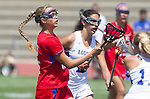 Torrance, CA 05/11/13 - Caitlin Derry (Los Alamitos #12) and Jackie Adelsberg (Agoura #12) during the 2013 Los Angeles/Orange County Championship game between Los Alamitos and Agoura.  Los Alamitos defeated Agoura 19-4.