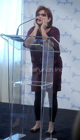 NEW YORK, NY - JANUARY 12: Acclaimed actress Carrie Fisher speaks onstage as she was announced today as a Jenny Craig spokesperson and is officially embarking on her journey to lose 30 Pounds on January 12, 2011 in New York City<br />