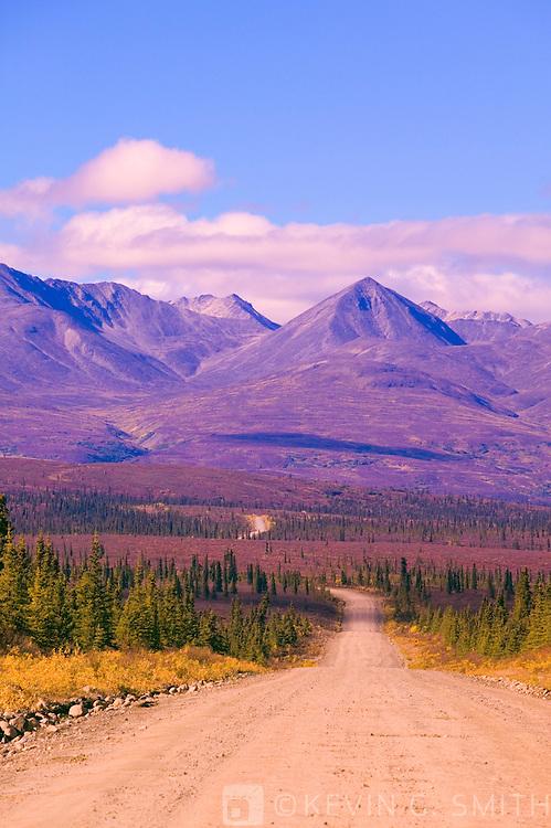 Denali Highway headed east outside of cantwell, fall, Alaska, USA.