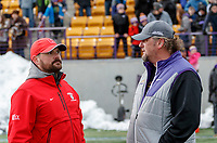 University at Albany Men's Lacrosse defeats Cornell 11-9 on Mar 4 at Casey Stadium.  Cornell coach Peter Milliman and UAlbany coach Scott Marr.