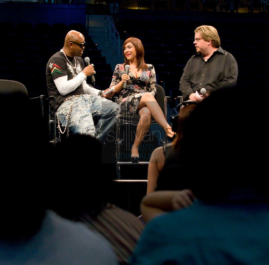 "Former ""Real World"" star Syrus (from left), former ""American Idol"" contestant Diana DeGarmo and Q100.5's Jeff Dauler listens speak on stage during a Dreams N2 Reality show and casting call at Philips Arena in Atlanta on Saturday, August 4, 2007. People offered their auditions in hopes of gaining spots on game shows and others in the reality TV genre."