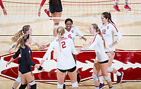 STANFORD, CA - November 4, 2018: Tami Alade, Audriana Fitzmorris, Meghan McClure, Jenna Gray, Kathryn Plummer, Morgan Hentz at Maples Pavilion. No. 2 Stanford Cardinal defeated the Utah Utes 3-0.