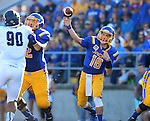 BROOKINGS, SD - SEPTEMBER 26:  Zach Lujan #16 from South Dakota State passes the football in the first quarter against Robert Morris Saturday evening at Coughlin Alumni Stadium. (Photo by Dave Eggen/Inertia)