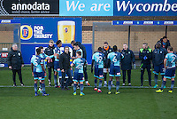 Wycombe during a break in play during the Sky Bet League 2 match between Wycombe Wanderers and Newport County at Adams Park, High Wycombe, England on 2 January 2017. Photo by Andy Rowland.