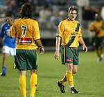 27 March 2004: Jovan Kirovski (7) and Andreas Herzog (right) during the first half. Los Angeles Galaxy defeated the Kansas City Wizards 1-0 at SAS Stadium in Cary, NC in the final preseason game for both Major League Soccer teams as part of the Cary Pro Kickoff Invitational tournament..