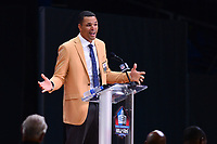 Canton, Ohio - August 3, 2019: Tony Gonzalez gives his enshrinement speech at the Tom Benson Hall of Fame Stadium in Canton, Ohio August 3, 2019 after his induction into the Pro Football Hall of Fame.  (Photo by Don Baxter/Media Images International)