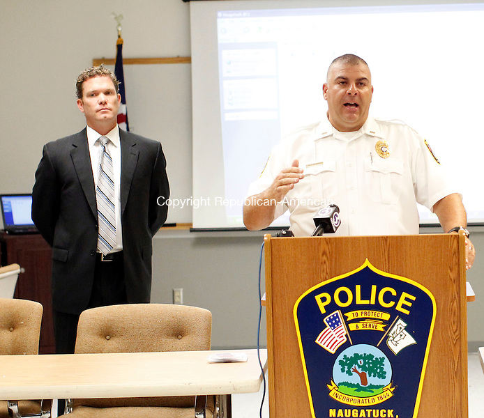 Naugatuck, CT- 27 August 2013-082713CM01-  Naugatuck Police Lieutenant Bryan Cammrata addresses the press during a press conference at the police department in Naugatuck Tuesday morning.  School buses in the borough will be equipped with cameras to catch offenders who illegally pass stopped school buses.       Christopher Massa Republican-American