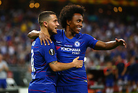 BAKU,AZERBAIJAN,29.MAY.19 - SOCCER - UEFA Europa League, final, Chelsea FC vs Arsenal FC. Image shows Eden Hazard and Willian (Chelsea). <br /> Celebration after goal <br /> Photo: GEPA pictures/ Christopher Kelemen / Insidefoto