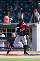 Ozzie Albies (1) of the Gwinnett Braves at bat against the Charlotte Knights at BB&T BallPark on July 16, 2017 in Charlotte, North Carolina.  The Knights defeated the Braves 5-4.  (Brian Westerholt/Four Seam Images)